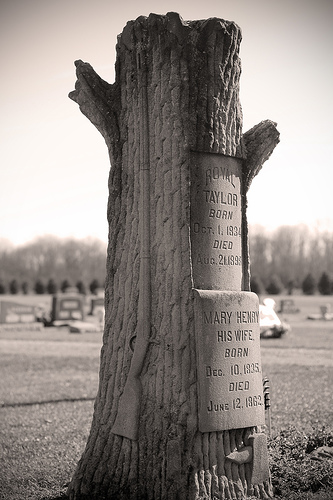"Typical example of a ""treestone"", a popular Victorian motif. The cut off stump represents someone who died before reaching old age. Image by Luigi Anzivino."