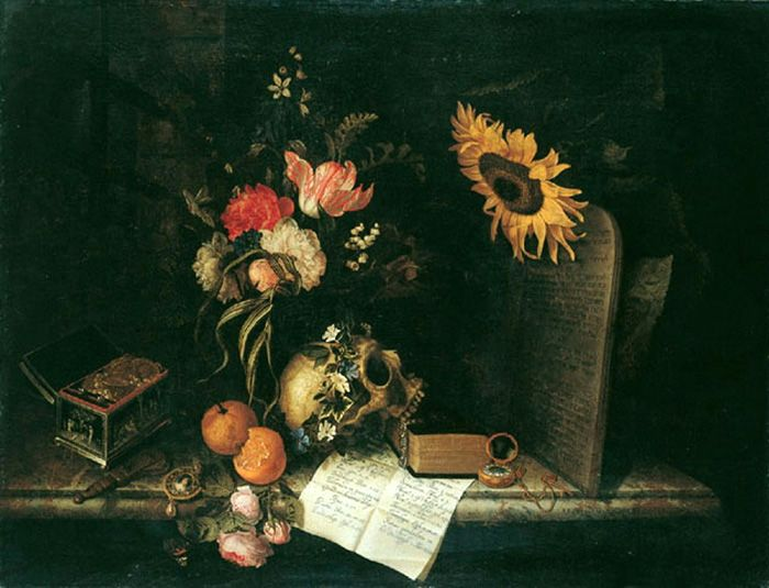 Vanitas with Sunflower and Jewelry Box by Maria van Oosterwijck