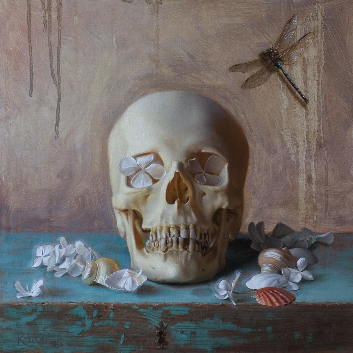 Vanitas, Katherine Stone. oil on linen on panel, 2012