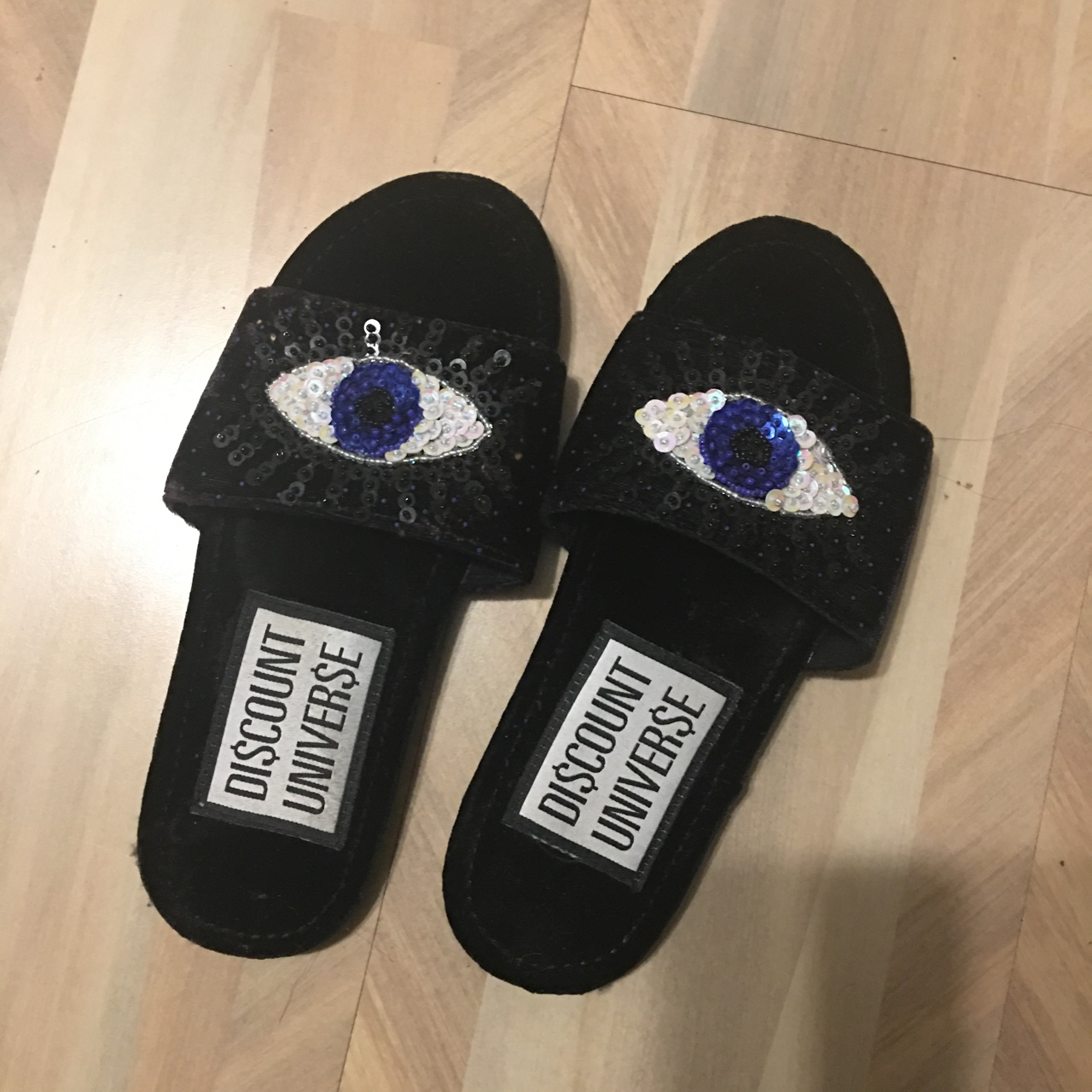 Sequined Evil Eye slides--make me an offer!