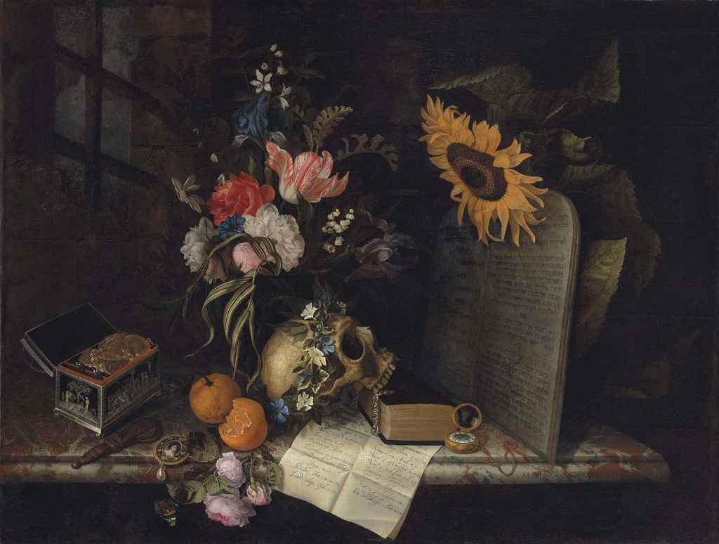 Vanitas with Sunflower and Jewelry Box by Maria van Oosterwijck (c. 1665)
